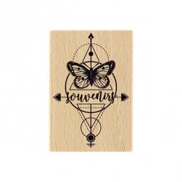 Tampon bois PAPILLON DU SOUVENIR par Florilèges Design. Scrapbooking et loisirs créatifs. Livraison rapide et cadeau dans cha...