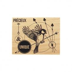 Tampon bois MÉSANGE UNIQUE par Florilèges Design. Scrapbooking et loisirs créatifs. Livraison rapide et cadeau dans chaque co...