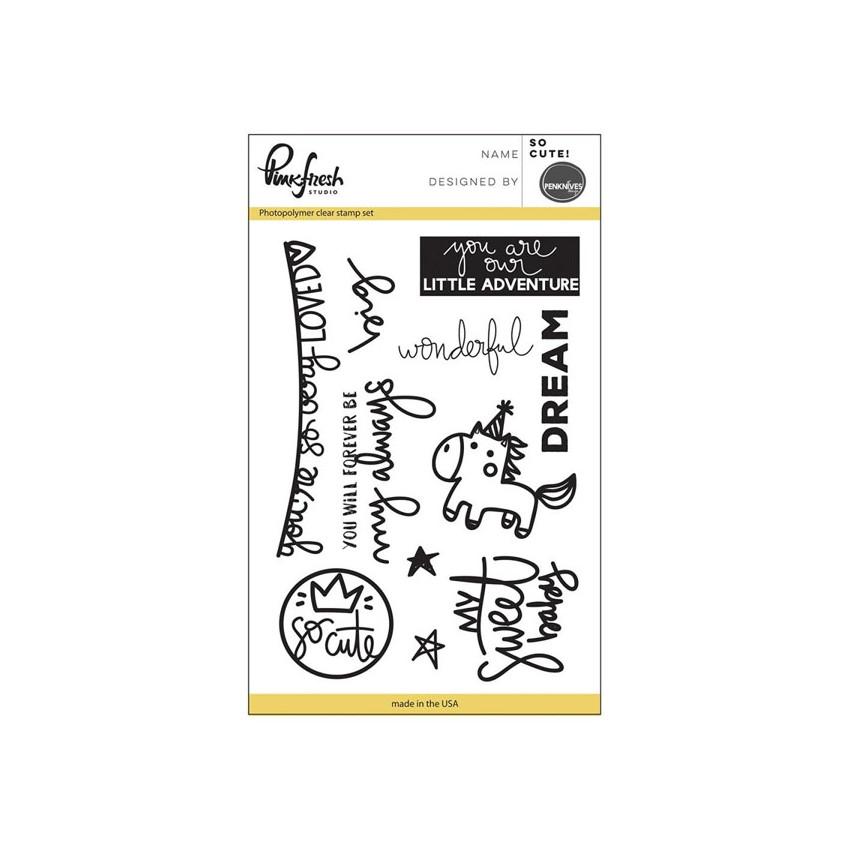 Tampons clear SO CUTE par Pinkfresh Studio. Scrapbooking et loisirs créatifs. Livraison rapide et cadeau dans chaque commande.