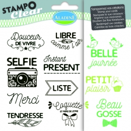 Tampons transparents STAMPO CLEAR PHRASES EXPRESSIONS