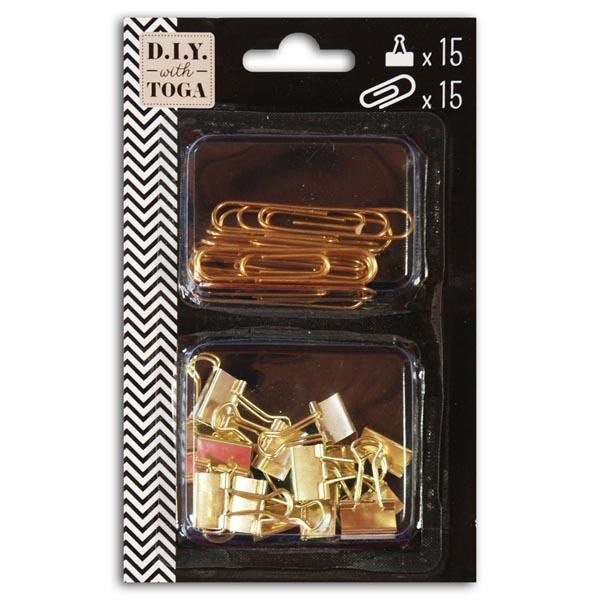 Lot de 15 maxi trombones et 15 mini clips or