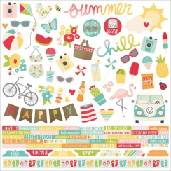 Planche de stickers 30,5 x 30,5 cm SUMMER DAYS