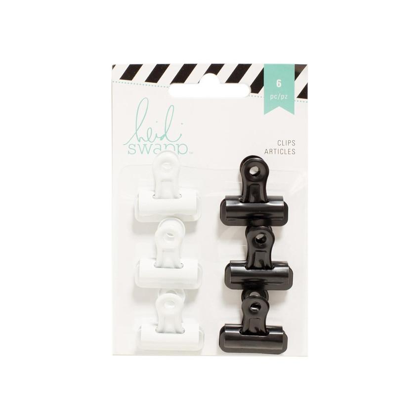 Pinces clips noires et blanches