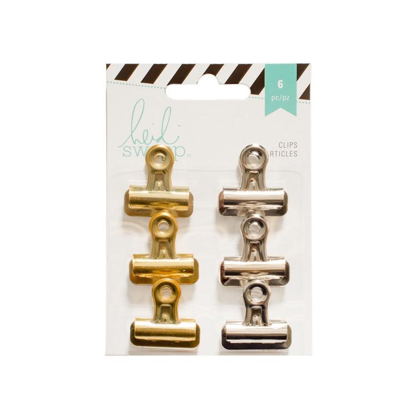 Pinces clips or et argent