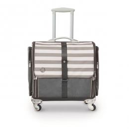 Valise à roulettes pliable rayée grise