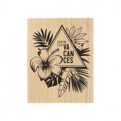 Tampon bois ENFIN LES VACANCES par Florilèges Design. Scrapbooking et loisirs créatifs. Livraison rapide et cadeau dans chaqu...