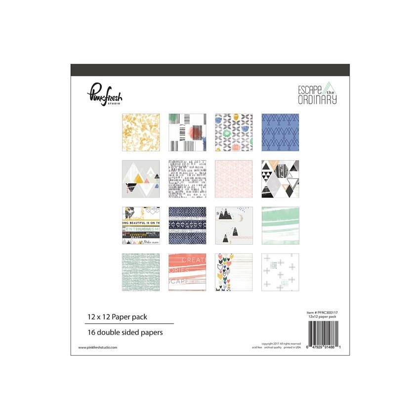 Pack papiers imprimés 30,5 x 30,5 cm collection ESCAPE THE ORDINARY