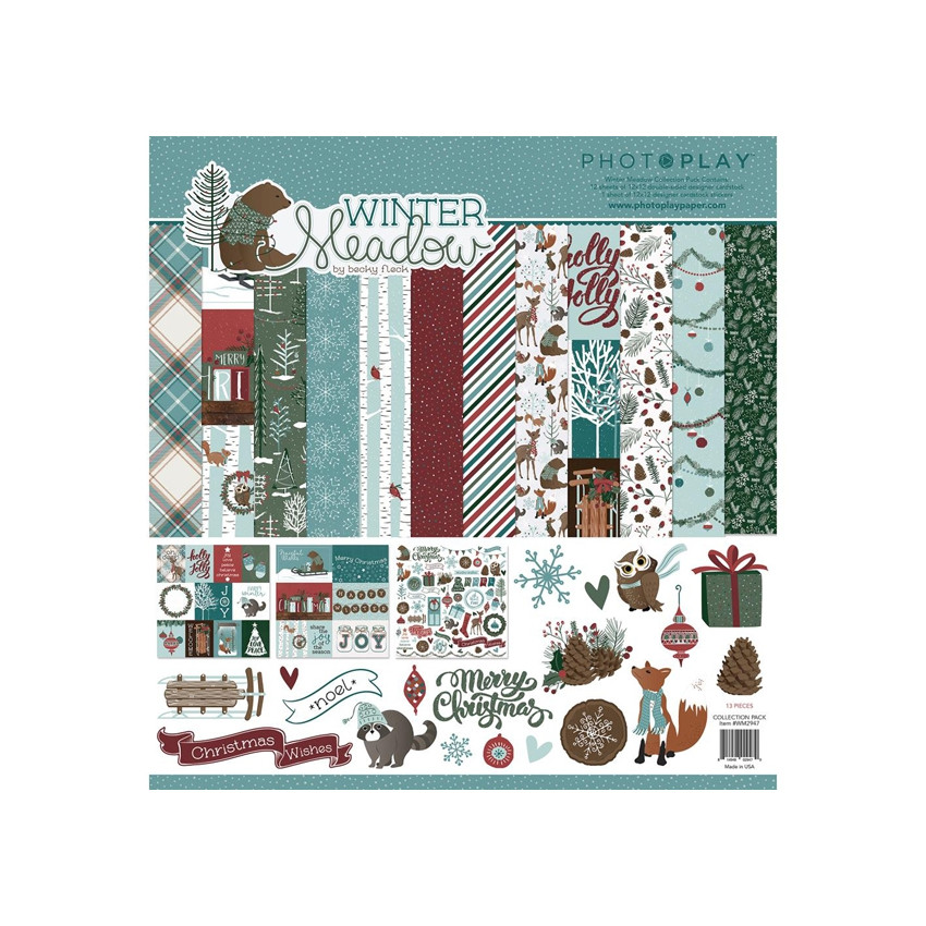 Pack papiers imprimés 30,5 x 30,5 cm collection WINTER MEADOW