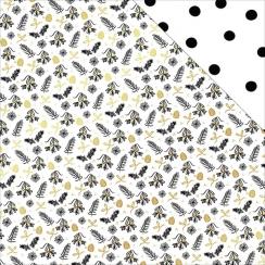 Papier motifs métallisés Joyful PINECONES AND HOLLY