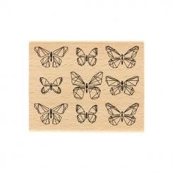 PROMO de -30% sur Tampon bois PAPILLONS GRAPHIQUES Florilèges Design