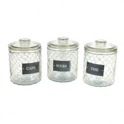 Set de 3 pots grillagés avec couvercle thé - sucre - café