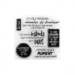 Tampons clear MINUTES DE BONHEUR par Florilèges Design. Scrapbooking et loisirs créatifs. Livraison rapide et cadeau dans cha...