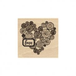 Tampon bois CŒUR EN RONDINS par Florilèges Design. Scrapbooking et loisirs créatifs. Livraison rapide et cadeau dans chaque c...