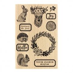 Tampon bois ANIMAUX DES BOIS par Florilèges Design. Scrapbooking et loisirs créatifs. Livraison rapide et cadeau dans chaque ...