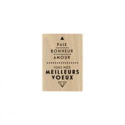 PROMO de -99.99% sur Tampon bois PAIX ET AMOUR Florilèges Design