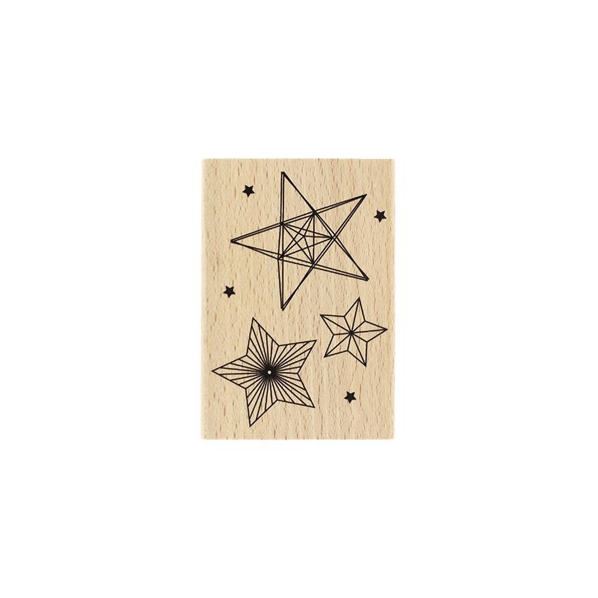Tampon bois TROIS ÉTOILES par Florilèges Design. Scrapbooking et loisirs créatifs. Livraison rapide et cadeau dans chaque com...