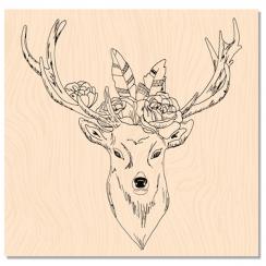 Tampon bois Douceur hivernale CERF BOHO CHIC