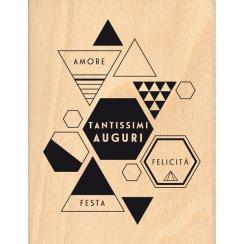 PROMO de -99.99% sur Tampon bois italien TANTISSIMI AUGURI Florilèges Design
