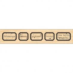 Tampon bois italien ETICHETTE STAGIONI par Florilèges Design. Scrapbooking et loisirs créatifs. Livraison rapide et cadeau da...