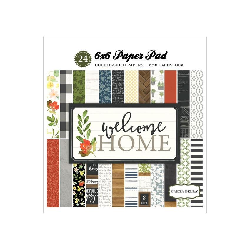 Bloc papiers imprimés 15 x 15 cm WELCOME HOME