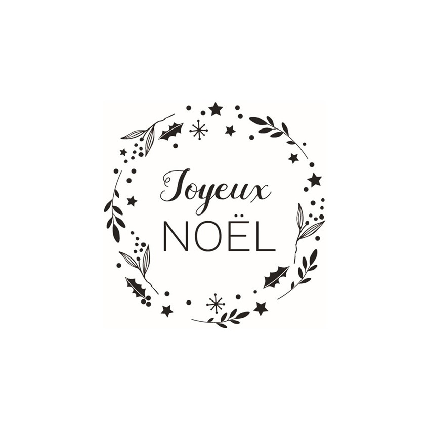 Tampon bois NOEL JOYEUX NOEL COURONNE