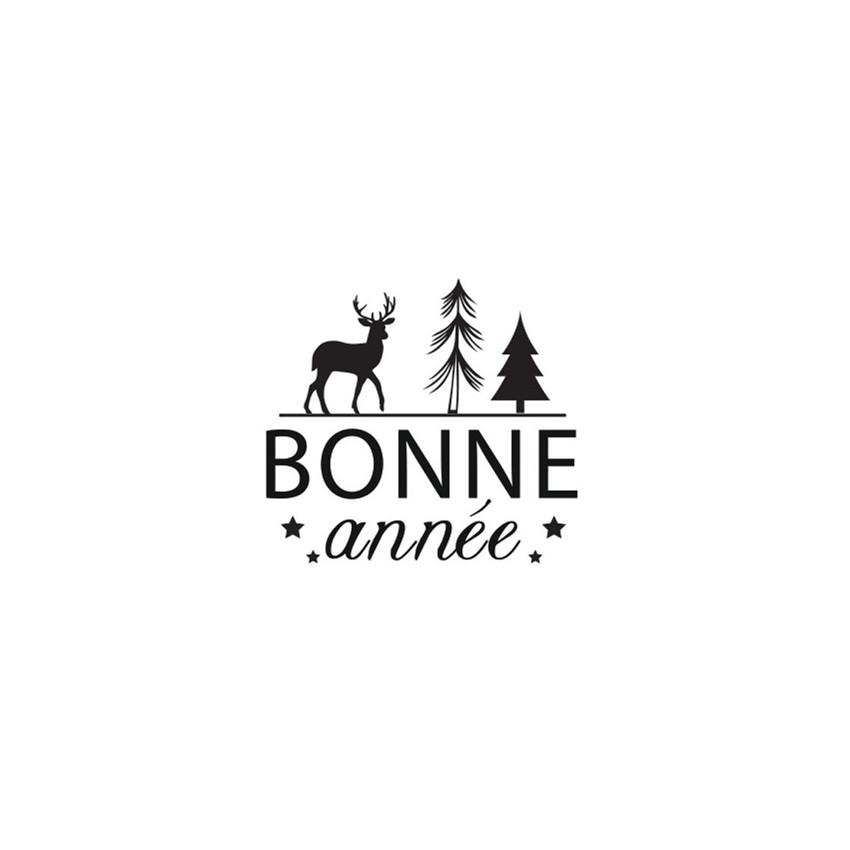 Tampon bois Rond Nouvelle Année BONNE ANNÉE