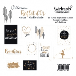 Lot de 10 cartes Reflet d'OR VANILLE DORÉE