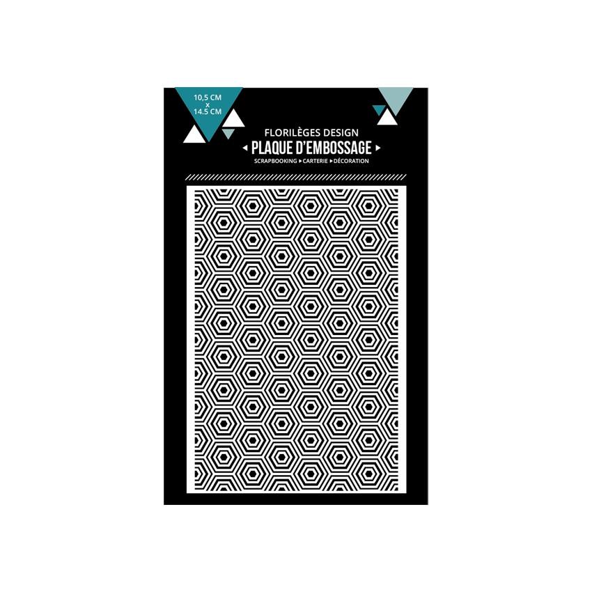 PROMO de -99.99% sur Plaque d'embossage HEXAGONES IMBRIQUÉS Florilèges Design