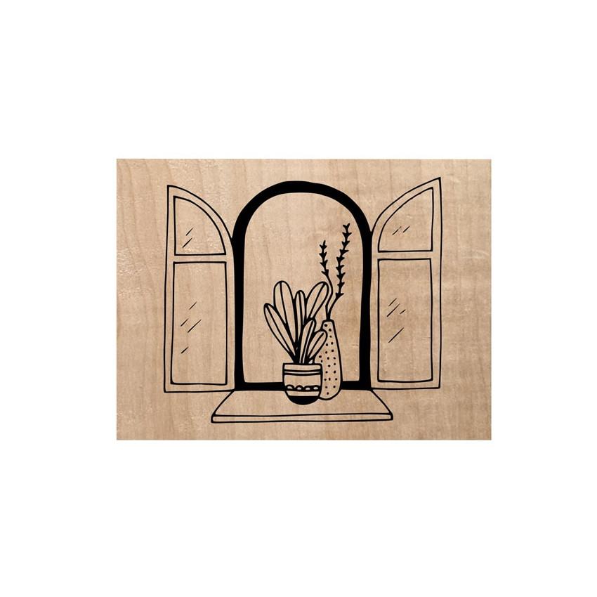 Tampon bois FENÊTRE OUVERTE par Chou and Flowers. Scrapbooking et loisirs créatifs. Livraison rapide et cadeau dans chaque co...