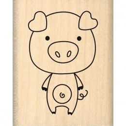 Tampon bois COCHON POP par Florilèges Design. Scrapbooking et loisirs créatifs. Livraison rapide et cadeau dans chaque commande.