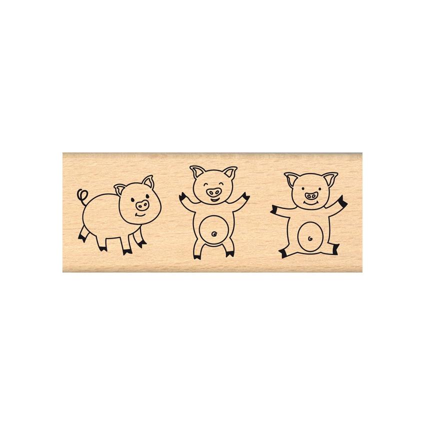 Tampon bois allemand TROIS COCHONS