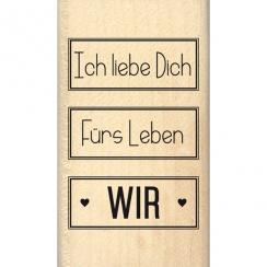 Tampon bois allemand ZUSAMMEN FÜR LEBEN par Florilèges Design. Scrapbooking et loisirs créatifs. Livraison rapide et cadeau d...