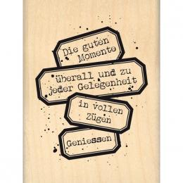 Tampon bois allemand WIRKLICH GENIESSEN par Florilèges Design. Scrapbooking et loisirs créatifs. Livraison rapide et cadeau d...