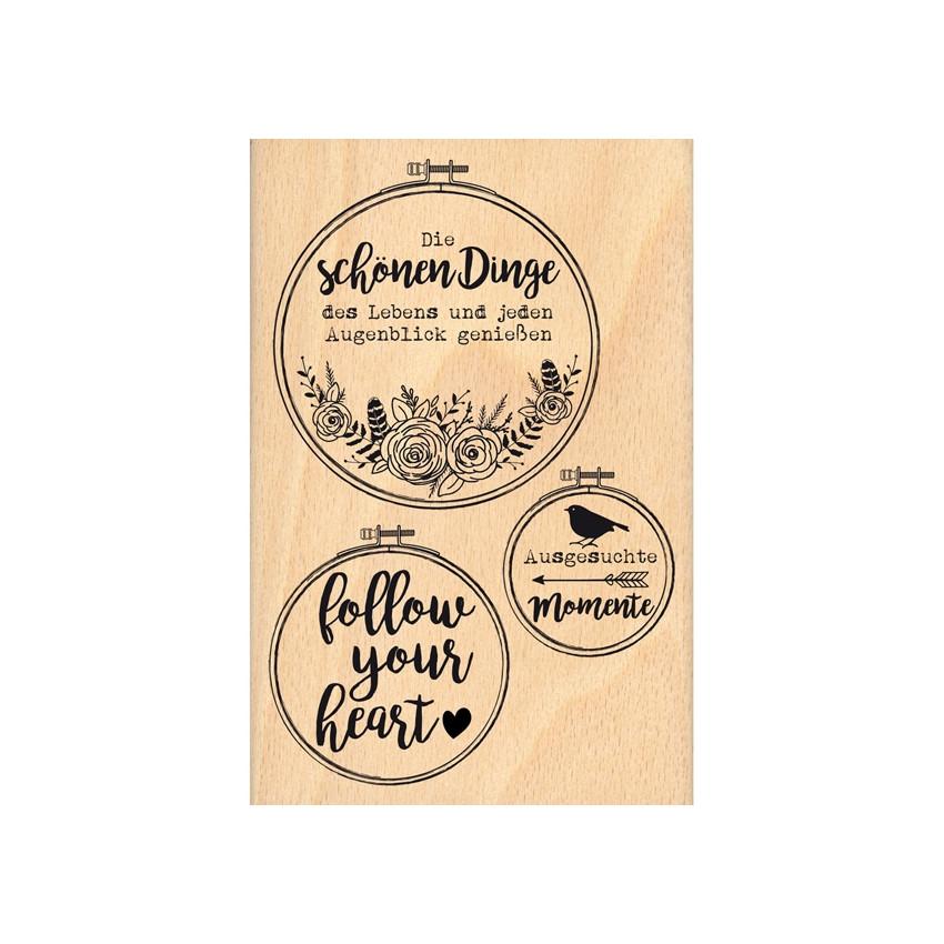 Tampon bois allemand FOLGE DEINEM HERZEN par Florilèges Design. Scrapbooking et loisirs créatifs. Livraison rapide et cadeau ...