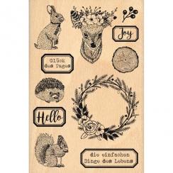 Tampon bois allemand TIERE IM WALD par Florilèges Design. Scrapbooking et loisirs créatifs. Livraison rapide et cadeau dans c...