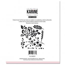 Pochoir Mademoiselle Tendresse SWEET FLOWERS par Les Ateliers de Karine. Scrapbooking et loisirs créatifs. Livraison rapide e...