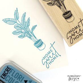 Tampon bois HOME SWEET HOME par Florilèges Design. Scrapbooking et loisirs créatifs. Livraison rapide et cadeau dans chaque c...