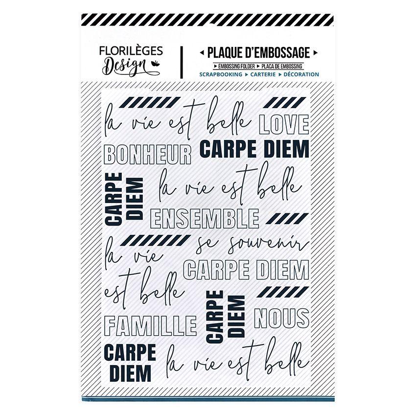 Plaque d'embossage LA VIE EST BELLE par Florilèges Design. Scrapbooking et loisirs créatifs. Livraison rapide et cadeau dans ...