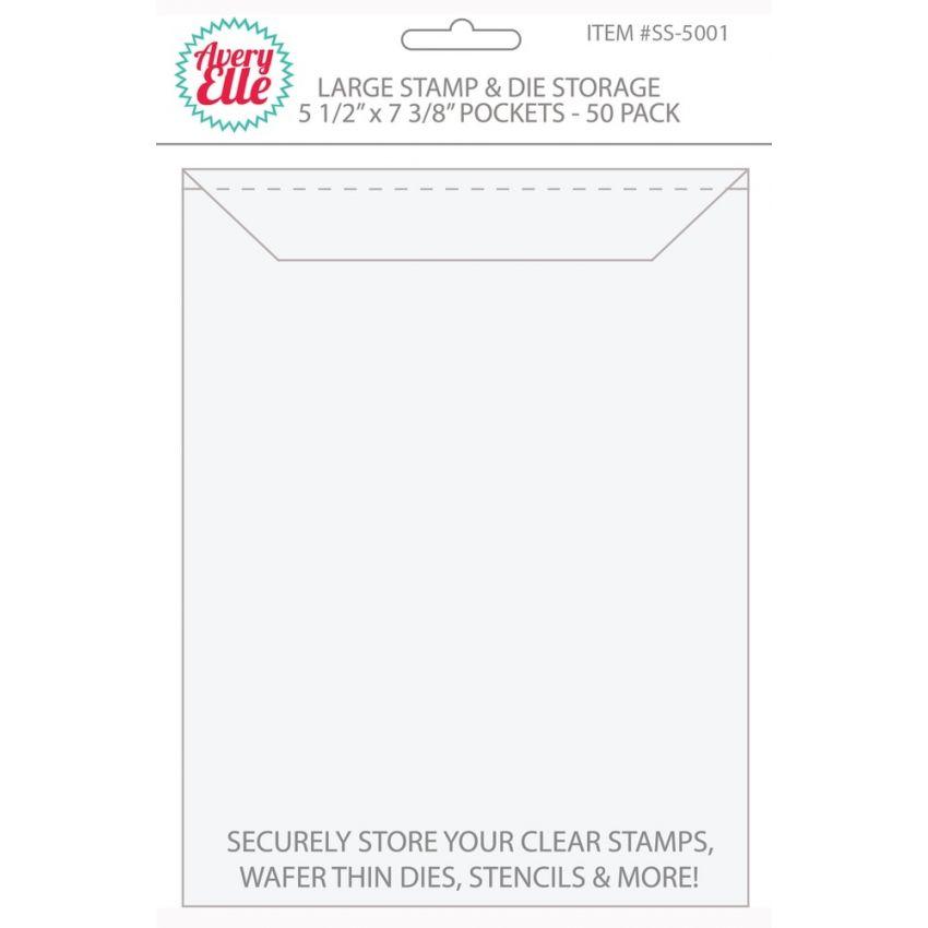 Set de 50 pochettes de rangement pour tampons clear et dies LARGE
