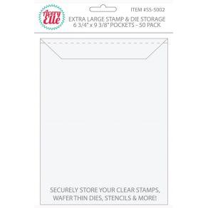 Set de 50 pochettes de rangement pour tampons clear et dies EXTRA LARGE