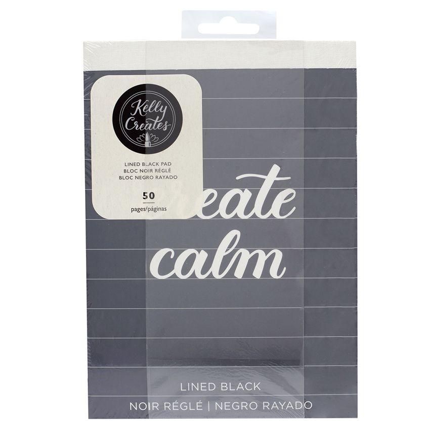 Bloc de papier noir ligné pour lettering Kelly Create 15 x 20 cm par American Crafts. Scrapbooking et loisirs créatifs. Livra...