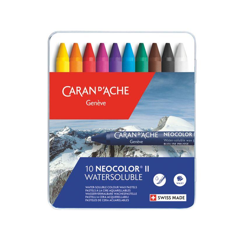 Coffret de 10 Pastels aquarellables Neocolor II par Caran d'Ache. Scrapbooking et loisirs créatifs. Livraison rapide et cadea...