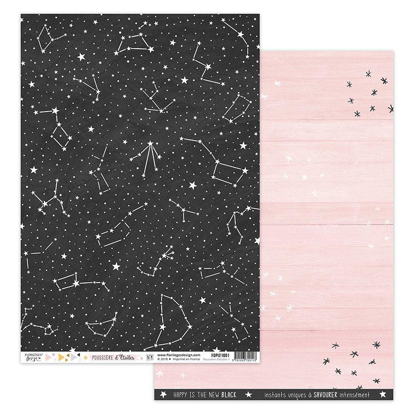 Papier imprimé POUSSIÈRE D'ÉTOILES 1 par Florilèges Design. Scrapbooking et loisirs créatifs. Livraison rapide et cadeau dans...
