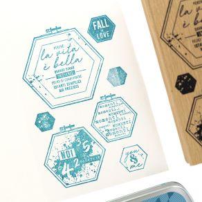 Tampon bois italien TELAI ESAGONALI par Florilèges Design. Scrapbooking et loisirs créatifs. Livraison rapide et cadeau dans ...