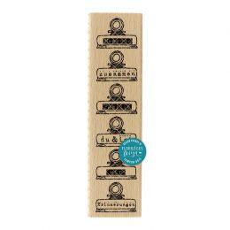 Tampon bois allemand KLAMMERN ZUR ERINNERUNG par Florilèges Design. Scrapbooking et loisirs créatifs. Livraison rapide et cad...