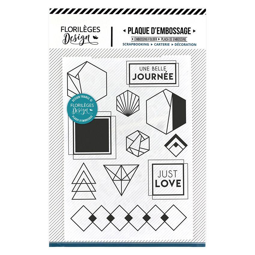 Plaque d'embossage JUST LOVE par Florilèges Design. Scrapbooking et loisirs créatifs. Livraison rapide et cadeau dans chaque ...