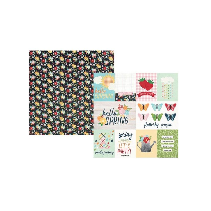 PROMO de -30% sur Papier imprimé Springtime 3X4 & 4X6 ELEMENTS Simple Stories