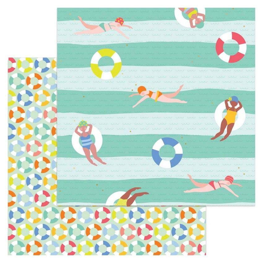 Papier imprimé à motifs métallisés Tutti Frutti SWIMING TIME