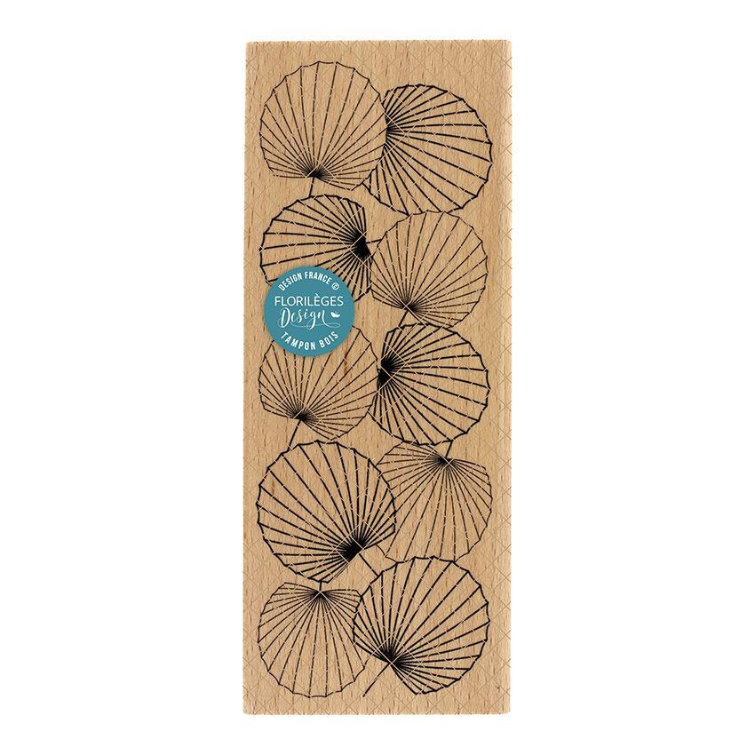 Tampon bois ÉVENTAILS par Florilèges Design. Scrapbooking et loisirs créatifs. Livraison rapide et cadeau dans chaque commande.